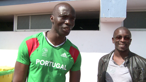 Portugal's 2004 100m Olympic Silver Medallist, Francis Obikwelu, with Bambo Akani