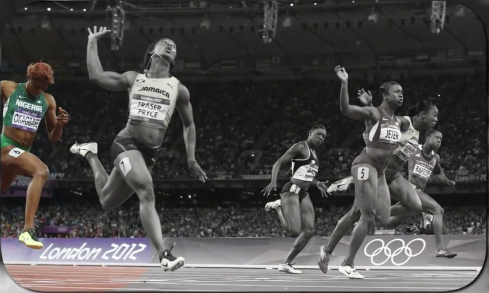 Blessing Okagbare finishing 8th in the 100m final at London 2012