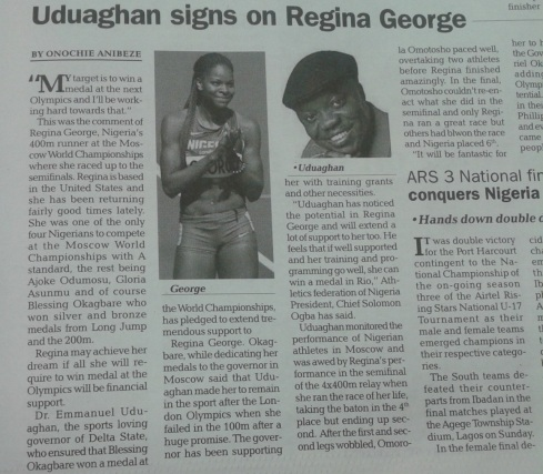 Uduaghan signs on Regina George