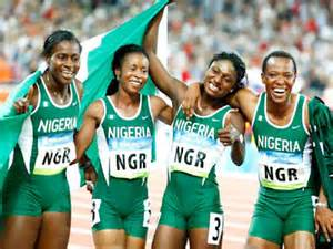 Team Nigeria's Bronze Medal winning quartet in the women's 4x100 metres at the Beijing 2008 Olympics!
