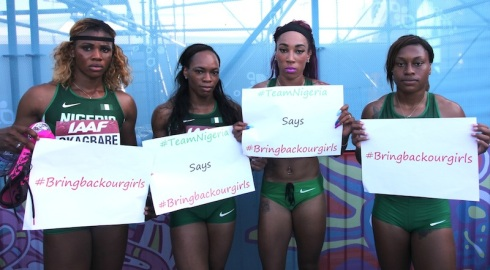 Nigeria's 4x100m World Relay 4th-place team   (L-R, Blessing Okagbare, Gloria Asumnu, Dominique Duncan, Francesca Okwara)
