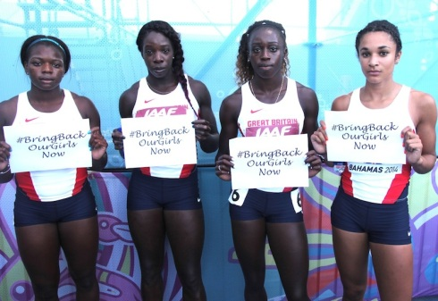 Team GB 4x100m, World Relays 2014 (L-R, Asha Philip, Anyika Onuora, Desiree Henry, Jodie Williams)