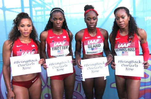 USA, 4x400m GOLD, World Relays 2014 (L-R, Monica Hargrove, Deedee Trotter, Jessica Beard, Sanya Richards-Ross)