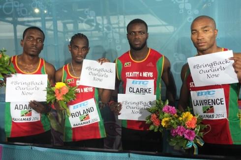 St Kitts & Nevis, 4x200m Silver, World Relays 2014 (L-R, Antoine Adams, Lestrod Roland, Allistar Clarke, Brijesh Lawrence)