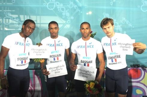 France, 4x200m Bronze, World Relays 2014 (L-R, Yannick Fonsat, Ken Romain, Ben Bassaw, Christophe Lemaitre)