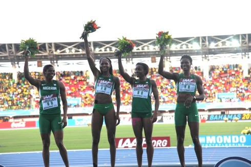 L-R: Sade Abugan, Regina George, Omolara Omotosho & Patience Okon George celebrate their fantastic World Relay Bronze in the 4x400m