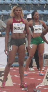 Okagbare and Asumnu at at the start-line of the 100 metre final at the Nigerian Trials