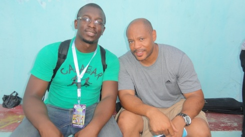 Maurice Greene, Nigeria's Relay Team Coordinator (R), with Making of Champions Founder & CEO, Bambo Akani (L)