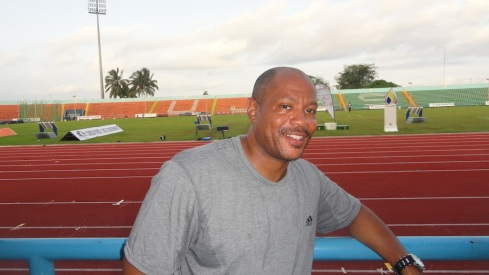 Maurice Greene, Team Nigeria's Relay Coordinator, at the UJ Esuene Stadium, Calabar, during the 2014 Nigerian Athletics Championships