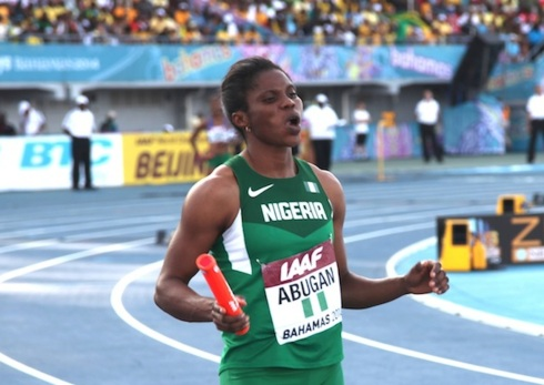 Folashade Abugan at the World Relays in the Bahamas. She is Nigeria's new 400m Champion, winning at the 2014 Nigerian Trials in 51.39s!