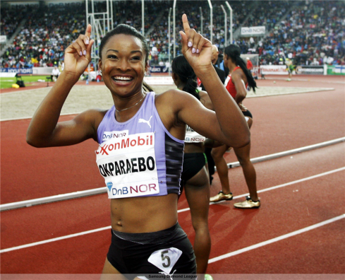 Okparaebo competing at her home meet in Oslo, where she won the Diamond League 100m in 2012