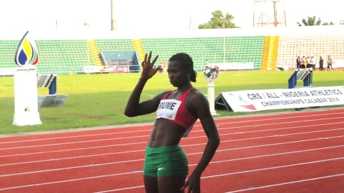 Ese Brume at the Nigerian Trials in Calabar, on her way to winning the 2014 National Title