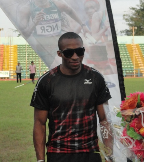 Tosin Oke collecting his GOLD medal in the Triple Jump at the 2014 Nigerian Trials!