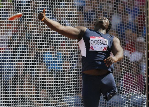 Nigeria's Richard Okigbazi during the Men's Para Sport Discus Throw F42/F44  (Photo Credit: AP Photo/Frank Augstein)