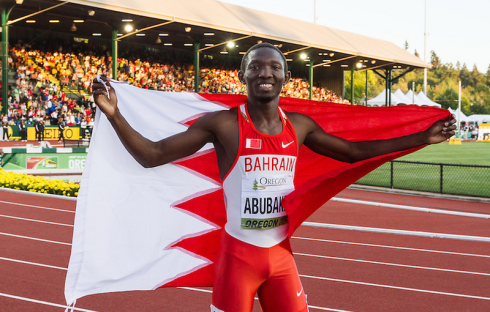 Abbas Abubakar after winning World Junior Bronze for Bahrain at Oregon 2014. (Photo credit: Kevin Morris)