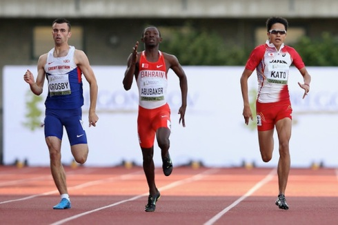Abbas Abubakar competing for Bahrain at the 2014 World Juniors. (Photo credit: Christian Petersen/Getty Images North America)