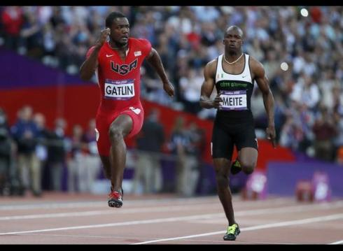 Ben Youssef Meite competed alongside USA's Justin Gatlin in the men's 100m semi-final at the London 2012 Olympic Games.  (Photo Credit: Lucy Nicholson/Reuters).