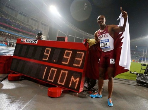 Femi Ogunode after setting a new 100m Asian Record at 2014 Asian Games (Photo Credit: Jason Reed, Reuters)