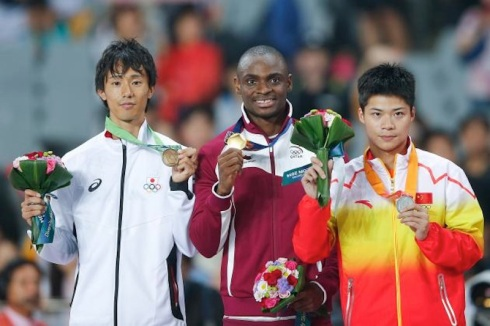Qatar's Femi Ogunode after winning the 100m at the 2014 Asian Games in 9.93s.  China's Su Bingtian Bronze and  Japan's Kei Takase took Silver and Bronze respectively.  (Photo Credit: Lintao Zhang/Getty Images AsiaPac)