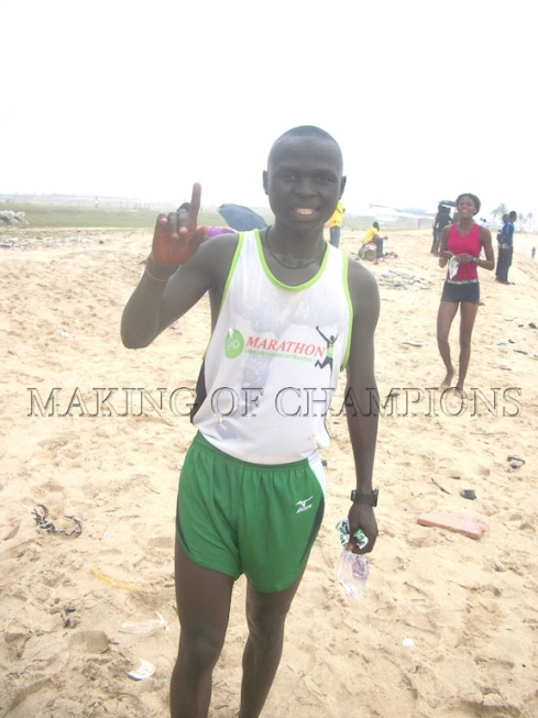 Emmanuel Gyang, 2014 Lagos International Beach Marathon Champion successfully defends his title from 2013!