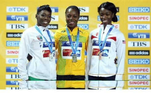 Murielle Ahoure won Silver in the 60m at the 2012 World Indoors behind Jamaica's Veronica Campbell-Brown (C), while Tianna Madison of Great Britain (R) took bronze. (Photo Credit: Getty Images)