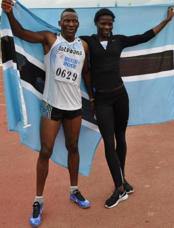 Amantle Monsho and Issac Makwala grabbed a double for Botswana in the 400m at the 2012 African Championships in Benin. (Photo Credit: www.athleticsafrica.com)