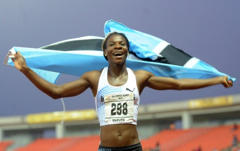 Amantle Montsho celebrates her 2011 All-African Games triumph in Maputo. (Photo Credit: www.bsnc.co.bw)